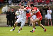 12 May 2019; Matthew Donnelly of Tyrone in action against Christopher McKaigue of Derry during the Ulster GAA Football Senior Championship preliminary round match between Tyrone and Derry at Healy Park, Omagh in Tyrone. Photo by Oliver McVeigh/Sportsfile