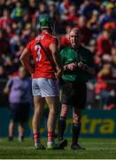 12 May 2019; Referee Sean Cleere speaks with Eoin Cadogan of Cork during the Munster GAA Hurling Senior Championship Round 1 match between Cork and Tipperary at Pairc Ui Chaoimh in Cork. Photo by David Fitzgerald/Sportsfile