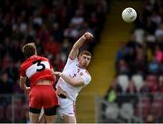 12 May 2019; Cathal McShane of Tyrone in action against Brendan Rogers of Derry during the Ulster GAA Football Senior Championship preliminary round match between Tyrone and Derry at Healy Park, Omagh in Tyrone. Photo by Oliver McVeigh/Sportsfile