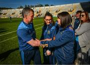 12 May 2019; Tipperary manager Liam Sheedy celebrates with his wife Margaret after the Munster GAA Hurling Senior Championship Round 1 match between Cork and Tipperary at Pairc Ui Chaoimh in Cork. Photo by Diarmuid Greene/Sportsfile