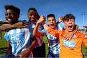 12 May 2019; Salthill Devon players, from left, Shane Befula, James Busari, Andreas Fernandez Samper, and Andrew Sherlock celebrate following the final whistle of the U16 SFAI Cup Final 2019 match between Midleton FC and Salthill Devon at Turners Cross in Cork. Photo by Michael P. Ryan/Sportsfile