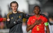 12 May 2019; Maarten Vandevoordt, left, and Marco Kana of Belgium during the 2019 UEFA European Under-17 Championships quarter-final match between Belgium and Netherlands at Carlisle Grounds in Bray, Wicklow. Photo by Stephen McCarthy/Sportsfile