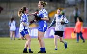 11 May 2019; Rosie Landers of Waterford is congratulated by team-mate, Eimear Fennell following the TG4 Munster Ladies Football Senior Championship match between Kerry and Waterford at Cusack Park in Ennis, Clare. Photo by Sam Barnes/Sportsfile
