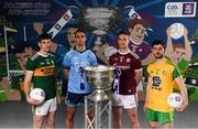 13 May 2019; Pictured at AIB's launch of the 2019 All Ireland Senior Football Championship are, from left, Kerry and Dingle footballer Paul Geaney, Dublin and Ballymun Kickhams footballer James McCarthy, Galway and Tuam Stars footballer Gary O'Donnell, and Donegal and Cill Chartha football Ryan McHugh. Entering into their fifth season sponsoring the county championship and now in their 28th year sponsoring the club championships, AIB champion the belief that 'Club Fuels County'. For the second year, AIB are bringing back their retro style video game, The Toughest Journey, that brings this belief to life by taking the player from Club to County, embarking on the journey to the All-Ireland Final. For exclusive content and to see why AIB is backing Club and County follow us @AIB_GAA on Twitter, Instagram, Snapchat, Facebook and AIB.ie/GAA and to play the game visit www.thetoughestjourneygame.com. Photo by Stephen McCarthy/Sportsfile