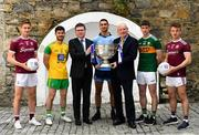 13 May 2019; At the AIB launch of the 2019 All Ireland Senior Football Championship are, from left, Galway and Tuam Stars footballer Gary O'Donnell, Donegal and Cill Chartha footballer Ryan McHugh, Ard Stiúrthóir of the GAA Tom Ryan, Dublin and Ballymun Kickhams footballer James McCarthy, Denis O'Callaghan, Head of AIB Retail Banking, Kerry and Dingle footballer Paul Geaney, and Galway and Annaghdown footballer Eoghan Kerin. Entering into their fifth season sponsoring the county championship and now in their 28th year sponsoring the club championships, AIB champion the belief that 'Club Fuels County'. For the second year, AIB are bringing back their retro style video game, The Toughest Journey, that brings this belief to life by taking the player from Club to County, embarking on the journey to the All-Ireland Final. For exclusive content and to see why AIB is backing Club and County follow us @AIB_GAA on Twitter, Instagram, Snapchat, Facebook and AIB.ie/GAA and to play the game visit www.thetoughestjourneygame.com. Photo by Ramsey Cardy/Sportsfile