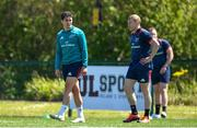 13 May 2019; Joey Carbery, left, and Keith Earls during Munster Rugby Squad Training at the University of Limerick in Limerick. Photo by Brendan Moran/Sportsfile
