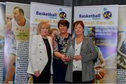 11 May 2019; Madeline Byrne collects the Presidents Lifetime Achievement Award on behalf of her late husband Joe Byrne, alongside Geraldine Dunne, left, from Theresa Walsh, President of Basketball Ireland, centre, during the Basketball Ireland 2018/19 Annual Awards and Hall of Fame at the Cusack Suite, Croke Park in Dublin. Photo by Piaras Ó Mídheach/Sportsfile