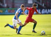 13 May 2019; Nicholas Bonfanti of Italy in action against Rafael Brito of Portugal during the 2019 UEFA European Under-17 Championships quarter-final match between Italy and Portugal at Tolka Park in Dublin. Photo by Stephen McCarthy/Sportsfile