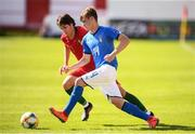 13 May 2019; Michael Brentan of Italy in action against Paulo Bernardo of Portugal during the 2019 UEFA European Under-17 Championships quarter-final match between Italy and Portugal at Tolka Park in Dublin. Photo by Stephen McCarthy/Sportsfile