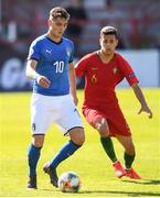 13 May 2019; Sebastiano Esposito of Italy in action against João Daniel of Portugal during the 2019 UEFA European Under-17 Championships quarter-final match between Italy and Portugal at Tolka Park in Dublin. Photo by Stephen McCarthy/Sportsfile