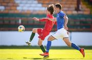 13 May 2019; Fabio Silva of Portugal in action against Lorenzo Pirola of Italy during the 2019 UEFA European Under-17 Championships quarter-final match between Italy and Portugal at Tolka Park in Dublin. Photo by Stephen McCarthy/Sportsfile