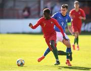 13 May 2019; Gerson Sousa of Portugal in action against Simone Panada of Italy during the 2019 UEFA European Under-17 Championships quarter-final match between Italy and Portugal at Tolka Park in Dublin. Photo by Stephen McCarthy/Sportsfile
