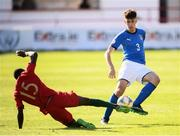 13 May 2019; Matteo Ruggeri of Italy in action against Famana Quizera of Portugal during the 2019 UEFA European Under-17 Championships quarter-final match between Italy and Portugal at Tolka Park in Dublin. Photo by Stephen McCarthy/Sportsfile