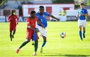 13 May 2019; Franco Tongya of Italy in action against Filipe Cruz of Portugal during the 2019 UEFA European Under-17 Championships quarter-final match between Italy and Portugal at Tolka Park in Dublin. Photo by Stephen McCarthy/Sportsfile