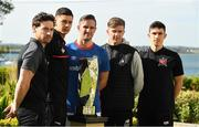 13 May 2019; Barry Murphy of St. Patrick's Athletic, Cristian Magerusan of Bohemians, Andy Waterworth of Linfield F.C., Ronan Finn of Shamrock Rovers, and Jamie McGrath of Dundalk at the Unite the Union Champions Cup Launch in the Grand Hotel in Malahide, Dublin. Photo by Ray McManus/Sportsfile