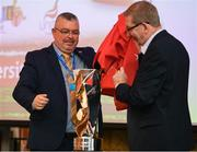 13 May 2019; Unite Regional Secretary Jackie Pollock, left, and Len McCloskey, General Secretary of Unite the Union, unveil the new trophy at the Unite the Union Champions Cup Launch in the Grand Hotel in Malahide, Dublin. Photo by Ray McManus/Sportsfile