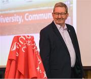 13 May 2019; Len McCloskey, General Secretary of Unite the Union, glances at the yet unveiled trophy as he makes his way to the podium to speak at the Unite the Union Champions Cup Launch in the Grand Hotel in Malahide, Dublin. Photo by Ray McManus/Sportsfile