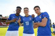13 May 2019; Italy players, from left, Iyenoma Destiny Udogie, Alessandro Arlotti and Nicolò Cudrig following the 2019 UEFA European Under-17 Championships quarter-final match between Italy and Portugal at Tolka Park in Dublin. Photo by Stephen McCarthy/Sportsfile