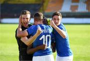 13 May 2019; Italy players, from left, Manuel Gasparini, Sebastiano Esposito and Nicolò Cudrig of Italy celebrate following the 2019 UEFA European Under-17 Championships Quarter-Final match between Italy and Portugal at Tolka Park in Dublin. Photo by Stephen McCarthy/Sportsfile