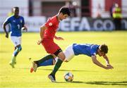 13 May 2019; Tomás Araújo of Portugal in action against Michael Brentan of Italy during the 2019 UEFA European Under-17 Championships Quarter-Final match between Italy and Portugal at Tolka Park in Dublin. Photo by Stephen McCarthy/Sportsfile