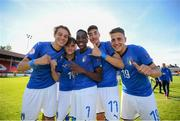 13 May 2019; Italy players, from left, Nikola Sekulov, Michael Brentan, Franco Tongya, Alessandro Pio Riccio and Alessandro Arlotti celebrate following the 2019 UEFA European Under-17 Championships Quarter-Final match between Italy and Portugal at Tolka Park in Dublin. Photo by Stephen McCarthy/Sportsfile