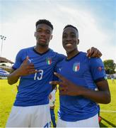 13 May 2019; Iyenoma Destiny Udogie of Italy left, with Franco Tongya of Italy celebrate following the 2019 UEFA European Under-17 Championships Quarter-Final match between Italy and Portugal at Tolka Park in Dublin. Photo by Stephen McCarthy/Sportsfile