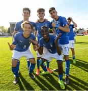 13 May 2019; Italy players celebrate following the 2019 UEFA European Under-17 Championships Quarter-Final match between Italy and Portugal at Tolka Park in Dublin. Photo by Stephen McCarthy/Sportsfile