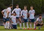 13 May 2019; Spain players during the penalty shootout of the 2019 UEFA European Under-17 Championships Quarter-Final match between Hungary and Spain at UCD Bowl in Dublin. Photo by Ben McShane/Sportsfile