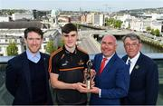 14 May 2018; Sean O'Shea of Kerry and Aaron Gillane of Limerick have been voted as the PwC GAA/GPA Players of the Month for April in football and hurling respectively. Pictured are, from left, Seamus Hickey, Chairman, GPA, Sean O'Shea of Kerry, Ger O'Mahoney, Senior Partner, PwC Cork, and Liam Lenihan, Chairman of the Munster Council, respresenting the GAA, at the PwC GAA/GPA Player of the Month Awards at a reception in the PwC Offices, Cork. Photo by Brendan Moran/Sportsfile