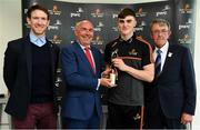 14 May 2018; Sean O'Shea of Kerry and Aaron Gillane of Limerick have been voted as the PwC GAA/GPA Players of the Month for April in football and hurling respectively. Pictured are, from left, Seamus Hickey, Chairman, GPA, Ger O'Mahoney, Senior Partner, PwC Cork, Sean O'Shea of Kerry, and Liam Lenihan, Chairman of the Munster Council, respresenting the GAA, at the PwC GAA/GPA Player of the Month Awards at a reception in the PwC Offices, Cork. Photo by Brendan Moran/Sportsfile