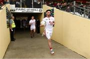 12 May 2019; Matthew Donnelly leads th Tyrone team out for the Ulster GAA Football Senior Championship preliminary round match betweenTyrone and Derry at Healy Park, Omagh in Tyrone. Photo by Oliver McVeigh/Sportsfile