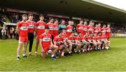 12 May 2019; The Derry squad before the Ulster GAA Football Senior Championship preliminary round match betweenTyrone and Derry at Healy Park, Omagh in Tyrone. Photo by Oliver McVeigh/Sportsfile