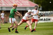 12 May 2019; Conor Murray of Mayo in action against Lorcan Devlin of Tyrone during the Nicky Rackard Cup Group 2 Round 1 match between Tyrone and Mayo at Healy Park, Omagh in Tyrone. Photo by Oliver McVeigh/Sportsfile