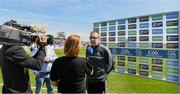 12 May 2019; Clare joint manager Gerry O'Connor is interviewed before the Munster GAA Hurling Senior Championship Round 1 match between Waterford and Clare at Walsh Park in Waterford. Photo by Ray McManus/Sportsfile