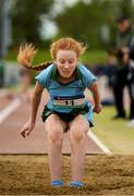 15 May 2019; Aoife Wilkins of Rathdown, Dublin, competing in the Junior Girls Triple Jump event during the Irish Life Health Leinster Schools Track and Field Championships Day 1 at Morton Stadium in Santry, Dublin. Photo by Eóin Noonan/Sportsfile