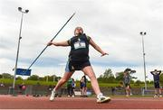 15 May 2019; Beth Miskelly of Eureka Kells, Meath, competing in the Minor Girls Javelin event during the Irish Life Health Leinster Schools Track and Field Championships Day 1 at Morton Stadium in Santry, Dublin. Photo by Eóin Noonan/Sportsfile