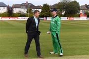 15 May 2019; Ireland captain William Porterfield with commentator Niall O'Brien before the One Day International match between Ireland and Bangladesh at Clontarf Cricket Club, Clontarf in Dublin. Photo by Piaras Ó Mídheach/Sportsfile