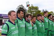 15 May 2019; Ireland captain William Porterfield, left, and his team-mates stand for Ireland's Call before the One Day International match between Ireland and Bangladesh at Clontarf Cricket Club, Clontarf in Dublin. Photo by Piaras Ó Mídheach/Sportsfile