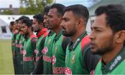15 May 2019; Bangladesh players stand for the anthems before the One Day International match between Ireland and Bangladesh at Clontarf Cricket Club, Clontarf in Dublin. Photo by Piaras Ó Mídheach/Sportsfile