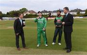 15 May 2019; Ireland captain William Porterfield performs the coin toss alongside commentator Niall O'Brien, Bangladesh captain Mashrafee bin Murtoza and Chris Broad, match referee, right, before the One Day International match between Ireland and Bangladesh at Clontarf Cricket Club, Clontarf in Dublin. Photo by Piaras Ó Mídheach/Sportsfile