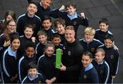 15 May 2019; James Talbot of Bohemians who was presented with his SSE Airtricity/SWAI Player of the Month award for April, with from 5th and 6th class in St Gabriel's National School in Stoneybatter, Dublin. Photo by Brendan Moran/Sportsfile