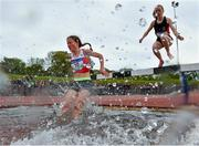 15 May 2019; Athletes competing in the Senior Girls 1,500m Steeplechase during the Irish Life Health Leinster Schools Track and Field Championships Day 1 at Morton Stadium in Santry, Dublin. Photo by Eóin Noonan/Sportsfile