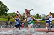 15 May 2019; Athletes competing in the Inter Boys 1,500m Steeplechase during the Irish Life Health Leinster Schools Track and Field Championships Day 1 at Morton Stadium in Santry, Dublin. Photo by Eóin Noonan/Sportsfile