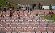 15 May 2019; Athletes competing in the Minor Boys 75m Hurdles during the Irish Life Health Leinster Schools Track and Field Championships Day 1 at Morton Stadium in Santry, Dublin. Photo by Eóin Noonan/Sportsfile
