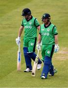 15 May 2019; William Porterfield, left, and Paul Stirling of Ireland during the One Day International match between Ireland and Bangladesh at Clontarf Cricket Club, Clontarf in Dublin. Photo by Piaras Ó Mídheach/Sportsfile
