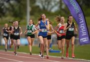 15 May 2019; Athletes competing in the Junior Girls 200m event during the Irish Life Health Leinster Schools Track and Field Championships Day 1 at Morton Stadium in Santry, Dublin. Photo by Eóin Noonan/Sportsfile