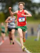 15 May 2019; Miles Hewlett, CBS Newross, Wexford, celebbrates winning the Junior Boys 1,500m during the Irish Life Health Leinster Schools Track and Field Championships Day 1 at Morton Stadium in Santry, Dublin. Photo by Eóin Noonan/Sportsfile