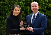 15 May 2019; Eimear Smyth of Fermanagh was today presented with The Croke Park / LGFA Player of the Month for April by Alan Smullen, General Manager, The Croke Park Hotel, Dublin. Eimear scored a remarkable individual tally of 1-12 as Fermanagh came from 11 points down to defeat Limerick in the Lidl National League Division 4 semi-final on 20 April. Photo by Brendan Moran/Sportsfile