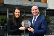 15 May 2019; Eimear Smyth of Fermanagh is presented with The Croke Park / LGFA Player of the Month for April by Alan Smullen, General Manager, The Croke Park Hotel, Dublin. Eimear scored a remarkable individual tally of 1-12 as Fermanagh came from 11 points down to defeat Limerick in the Lidl National League Division 4 semi-final on 20 April. Photo by Brendan Moran/Sportsfile