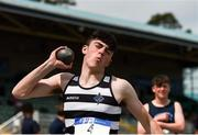 15 May 2019; Finlay O'Brien, Presentation Killina, Offaly, competing in the U16 Boys Shot during the Irish Life Health Leinster Schools Track and Field Championships Day 1 at Morton Stadium in Santry, Dublin. Photo by Eóin Noonan/Sportsfile
